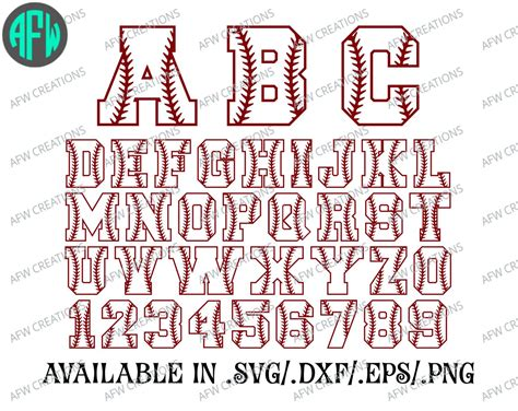 baseball pattern font baseball letters numbers softball svg dxf eps
