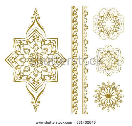 indian ornaments and design elements vector mandala set mehendi elements henna design stock vector