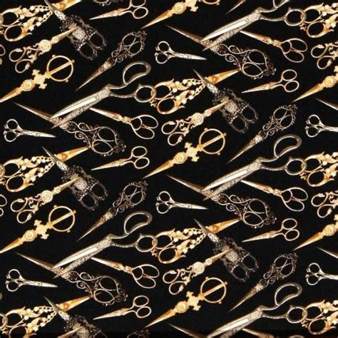 Scissor Cotton cotton fabric sewing fabric sew vintage gold ornate