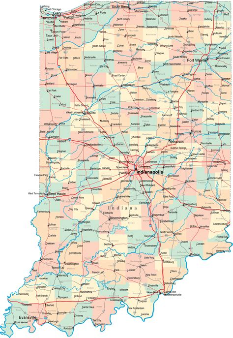 map of indiana counties indiana road map in road map indiana highway map