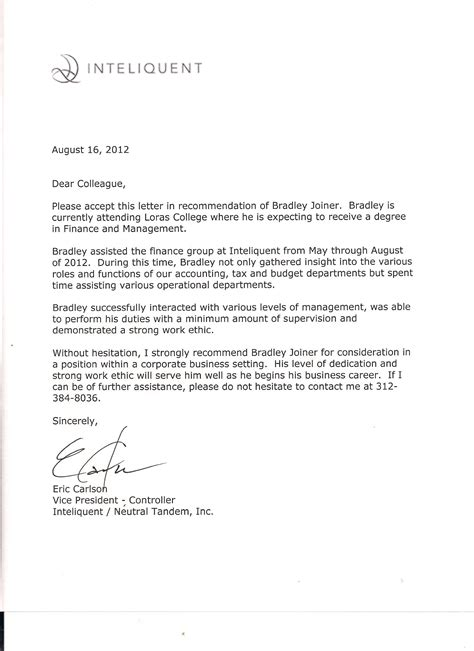 Letter Of Recommendation For Master In Finance Internship 1 Bradley Joiner Portfolio