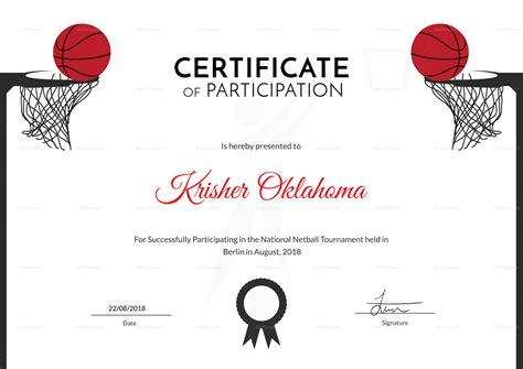 templates for netball certificates netball sports certificate design template in psd word