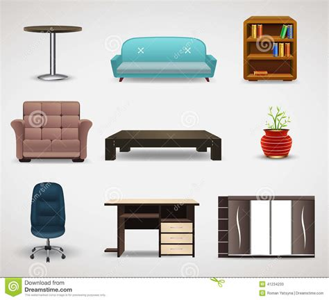 design elements furniture furniture icons set of interior elements stock vector