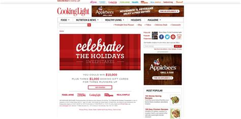 Cooking Light Sweepstakes - cooking light celebrate the holidays sweepstakes 10 000 are up for grabs