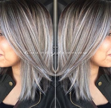 putting lowlights in gray hair amazing grey silver highlights pinteres
