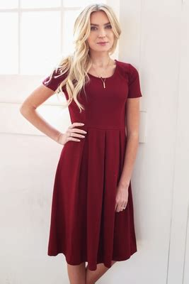 Ayamor Maroon Navy 50 grace a line modest dress in burgundy