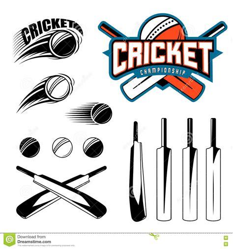 set of cricket sports template logo elements bat