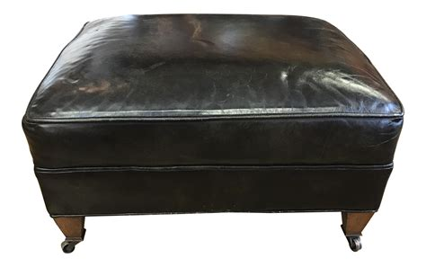leather ottoman with wheels distressed leather ottoman on casters chairish