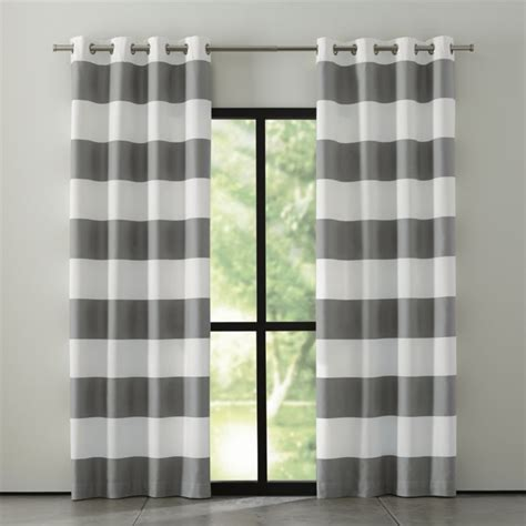 Gray And White Striped Curtains Alston Ivory Grey Striped Curtains Crate And Barrel