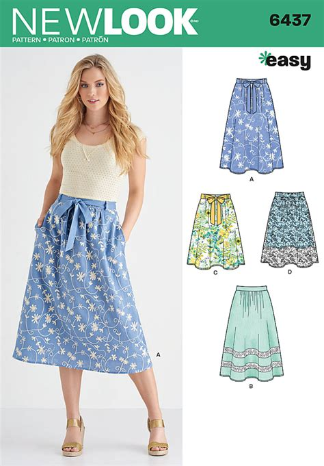 pattern review new look 6866 new look 6437 misses skirt in two lengths with fabric