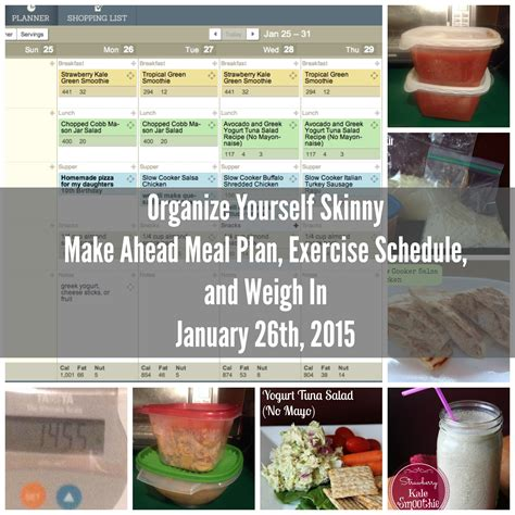 organizing yourself make ahead weight loss meal plans exercise schedule and