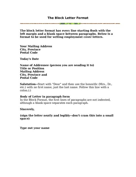 Block Style Business Letter With Subject Line block letter format with subject line cover letter templates