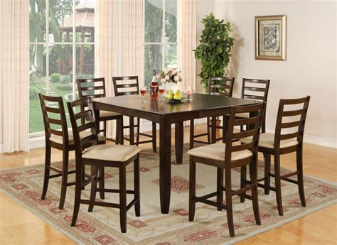 Square Dining Room Table With 8 Chairs 9 Pc Square Counter Height Dining Room Table 8 Chairs