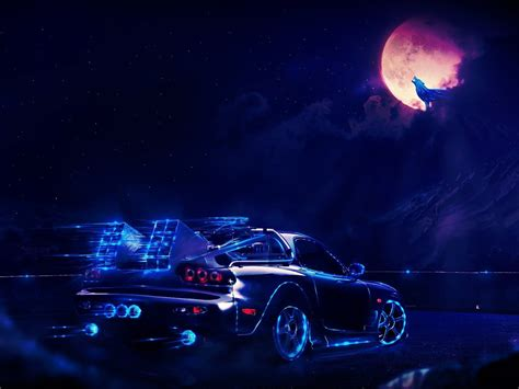 future delorean  night hd wallpaper