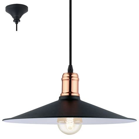 Black Pendant Lights Eglo 49452 Bridport 1 Light Ceiling Pendant Black Copper