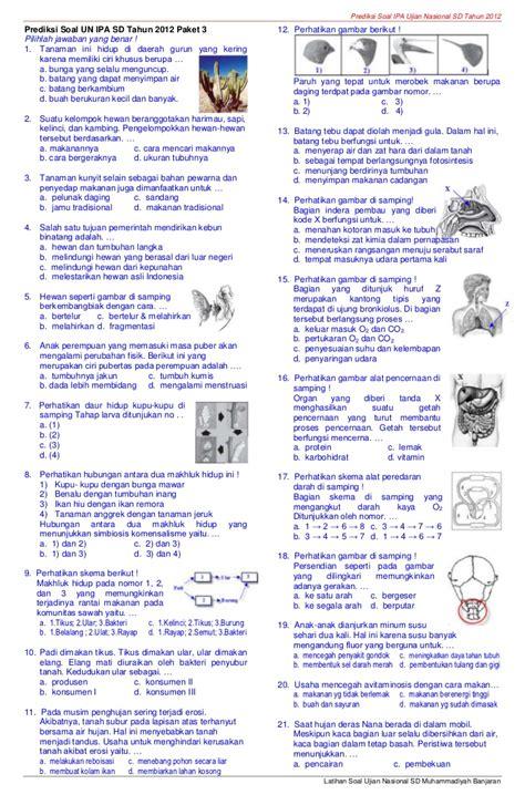 soal ipa ujian nasional sd tahun soal try out un ipa sd tahun soal try out un ipa sd muhammadiyah banjaran tahun 2012 paket