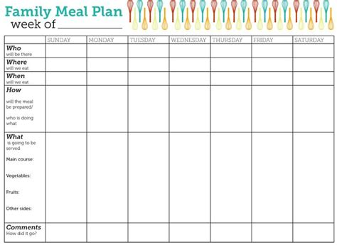 family menu planner template design lass family meal plan printable family meal free