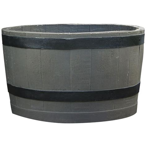 Black Planters Barrel Planter With Black Stripes 619400 Planters At