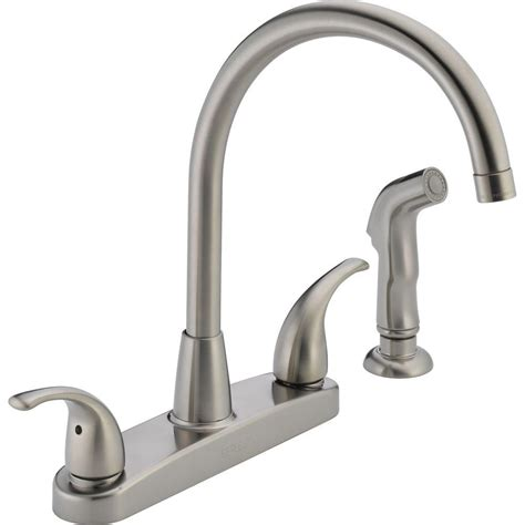 Peerless Kitchen Faucet Reviews Peerless Choice 2 Handle Standard Kitchen Faucet With Side Sprayer In Stainless P299578lf Ss