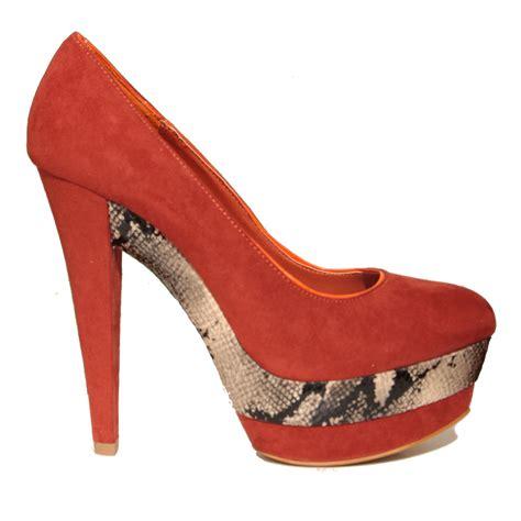 new womens orange high heel snakeskin shoe size 3 8 ebay