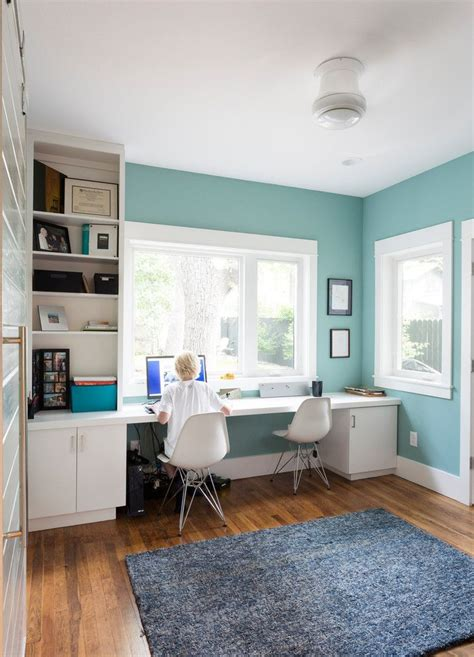 tiffany blue office on pinterest pedicure salon ideas tiffany blue paint in home office transitional with built