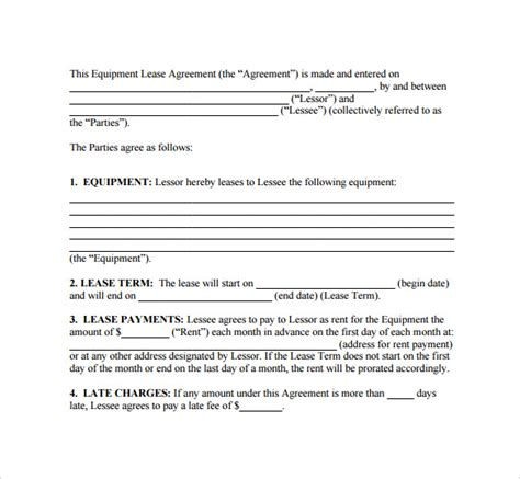 simple lease agreement template sle lease agreement 8 documents in pdf word