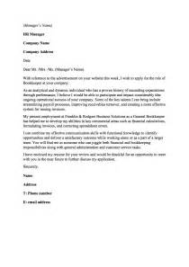 Bookkeeping Cover Letter by Sle Cover Letter For Bookkeeper