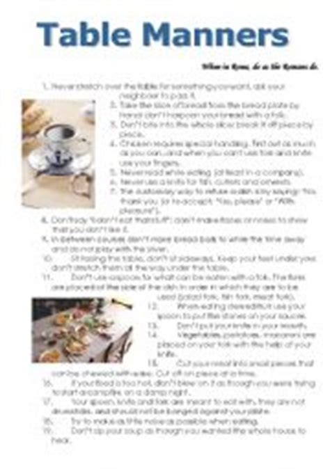 Table Manners Worksheet by Teaching Worksheets Table Manners