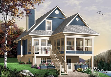House Plans For Sloping Lots In The Rear by Bordure De Lac Chalet Champ 234 Tre M 233 Diterran 233 En W4916a