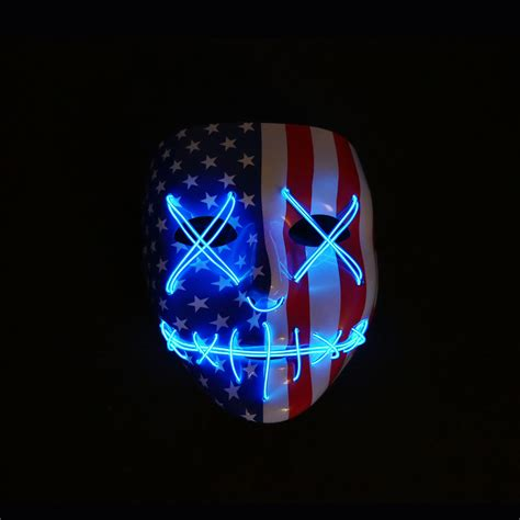light mask light up mask stitched flag 4th of july edition edm