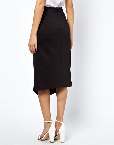 asos pencil skirt with split front in black lyst