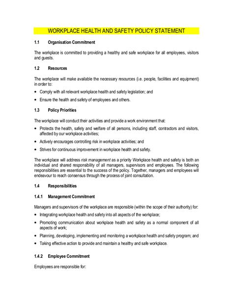 19 Health And Safety Policy Exles Sles Workplace Policy Template