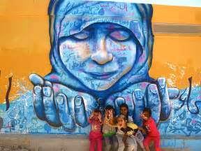 Wildlife Wall Mural art with syrian refugees the za atari project joel