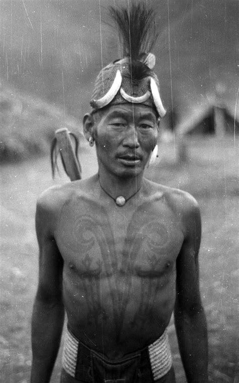 Naga Tribe Tattoo | india chang naga man with chest tattoos of a head hunter