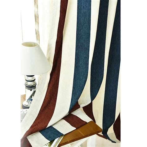 brown and white striped curtains brown white and navy blue striped jacuard chenille