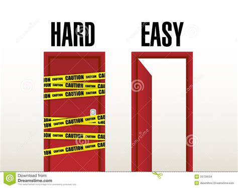 www easy hard and easy doors illustration design stock
