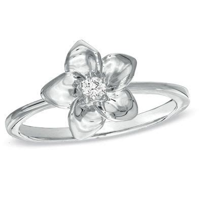 diamond accent flower ring in sterling silver zales