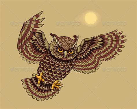 flying owl tattoos bird tattoos
