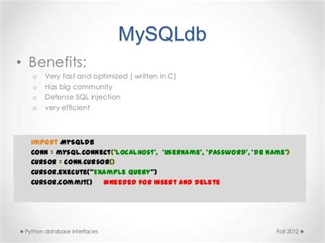 python mysql client tutorial python database interfaces
