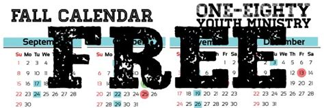 freebie friday  fall youth ministry calendar youth ministry media