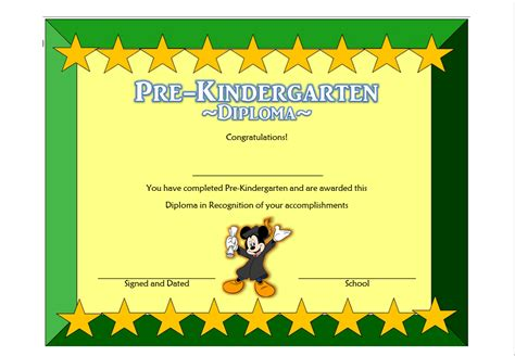 Pre Kindergarten Diploma Certificate 1 Professional And High Quality Templates Pre K Graduation Diploma Template