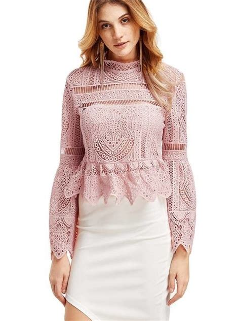 45189 Pink Halter Lace Blouse Blouse Pink Renda Hitam 771 best images about blusas on vestidos mullets and peplum
