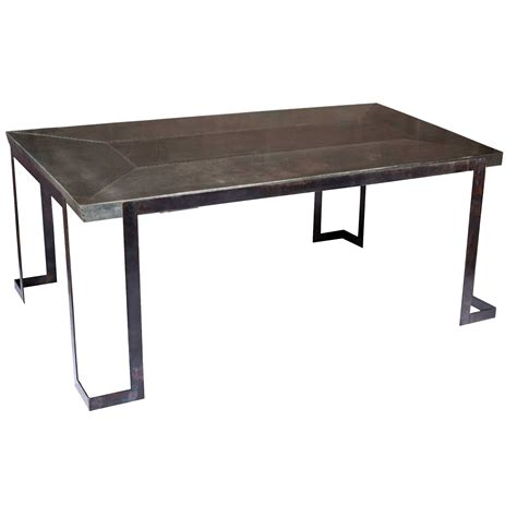 zinc top dining table pictured here is the steel rectangle dining table
