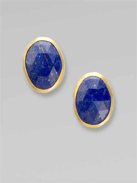 gurhan lapis stud earrings in blue lyst
