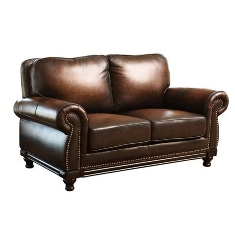 espresso leather loveseat abbyson living barclay leather loveseat in espresso ci