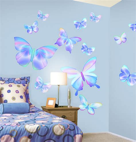 butterfly wall decals for rooms fluttering butterfly peel and stick wall mural in summertime blue