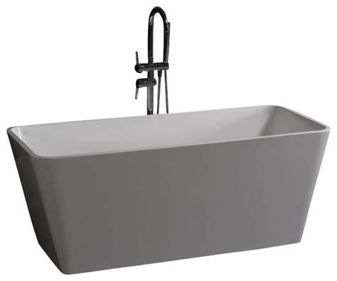 white stand alone resin bathtub glossy large modern