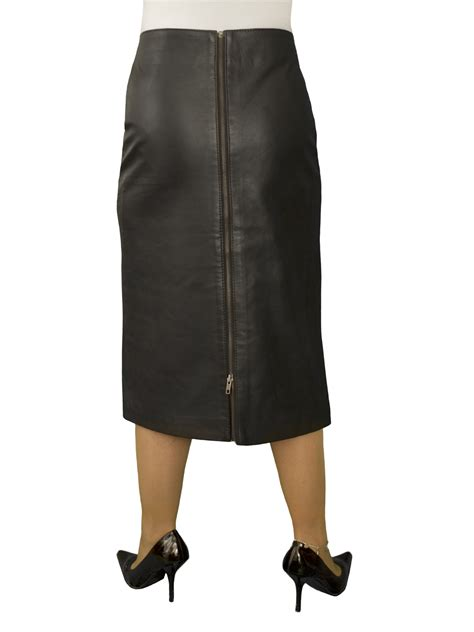 black superior leather midi pencil skirt rear zip