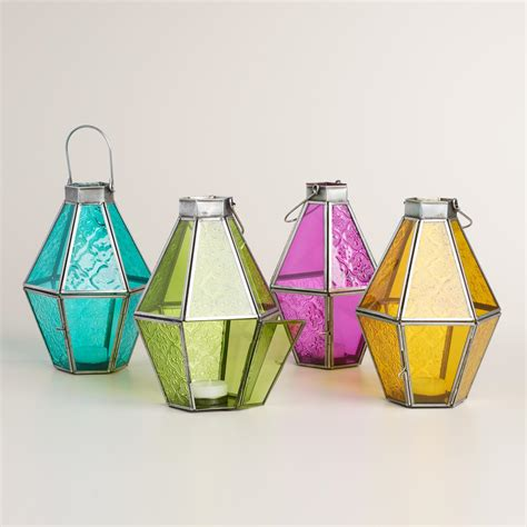 Colored Glass by Small Colored Glass Raya Tabletop Lantern World Market