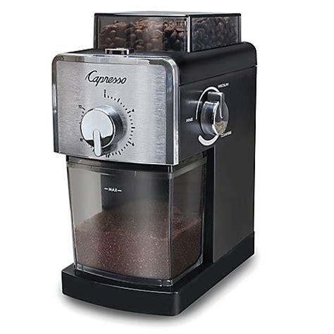 bed bath and beyond coffee grinder capresso 174 coffee burr grinder in black stainless steel